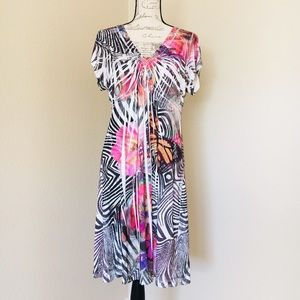 Tropical Dress Cover Up Size Large ONE WORLD EUC